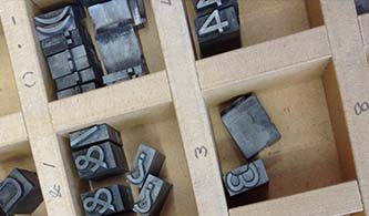 Detail of typesetting tray